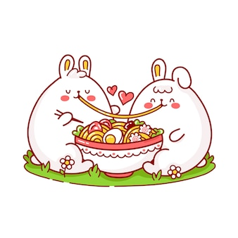 Cute happy funny rabbits couple eat ramen from bowl