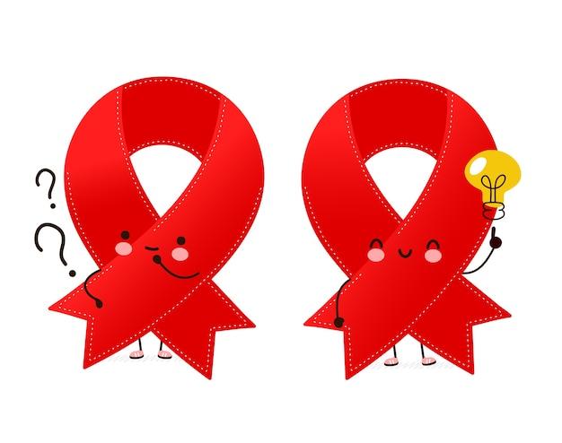 疑問符とアイデア電球とかわいい幸せな面白い赤いリボンのキャラクター