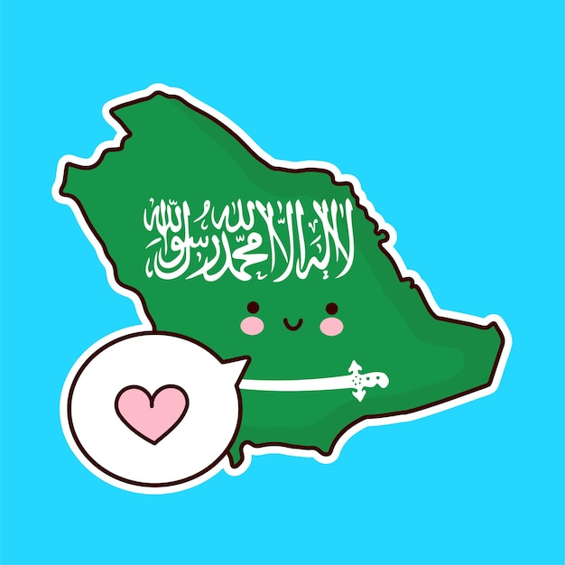 かわいい幸せな面白いサウジアラビア地図と吹き出しの中心の文字をフラグします。ライン漫画かわいいキャラクターイラストアイコン。サウジアラビアのコンセプト