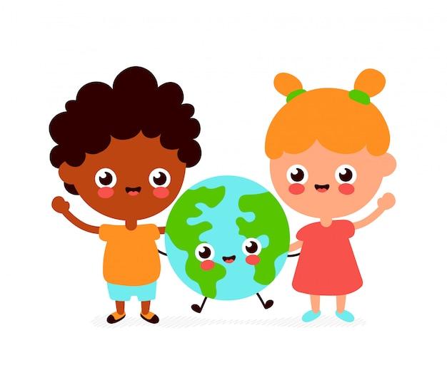 かわいい幸せな面白い笑顔の男の子、女の子、地球惑星。フラットの漫画のキャラクター。白い背景で隔離されました。地球、友人、生態学の概念