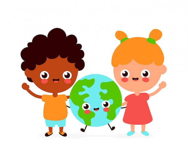 Cute happy funny smiling boy, girl and earth planet.  flat cartoon character. isolated on white background. earth globe,friends,ecology concept