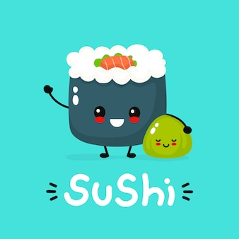 Cute happy funny smiling sushi,roll and wasabi.  flat cartoon character illustration icon .asian,japanese cuisine,china food. japan sushi character, kids menu