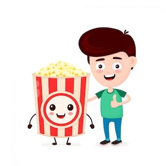 Милый счастливый смешной улыбающийся молодой человек и поп-корн ведро. мальчик показывает большой палец вверх. плоский мультипликационный персонаж значок изолированные на белом. поп-корн, друзья, кафе быстрого питания, детское меню