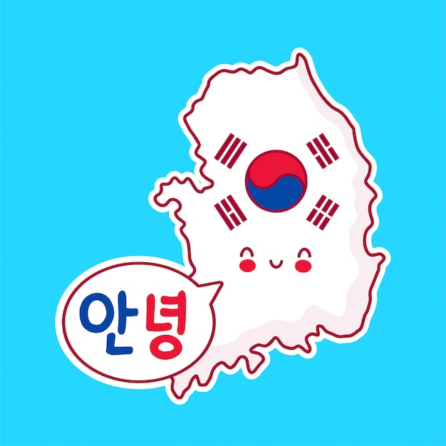 Cute happy funny south korea map and flag character with korean hello in speech bubble.