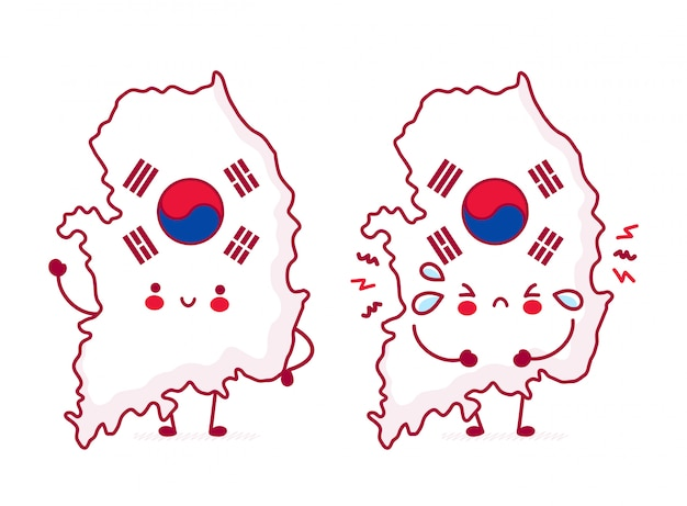 Cute happy funny south korea map and flag character.