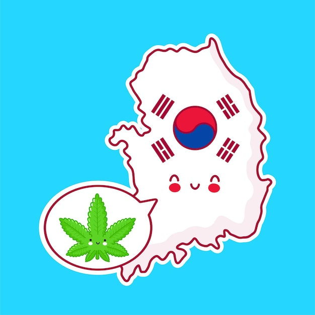 Cute happy funny south korea map and flag character