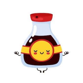 かわいい幸せな面白い醤油瓶が瞑想します。漫画のキャラクターイラストアイコンデザイン。分離されました。