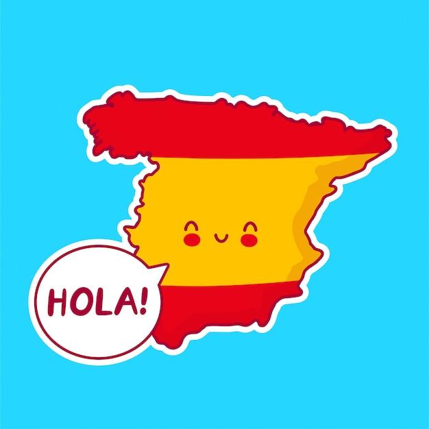 Симпатичная счастливая смешная карта испании и персонаж флага со словом hola в речевом пузыре!