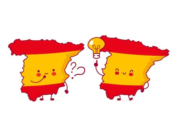 Симпатичная счастливая смешная карта испании и персонаж флага с вопросом и идеей.