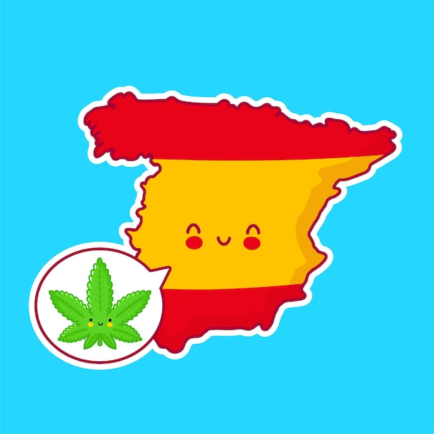 Cute happy funny spain map and flag character with speech bubble