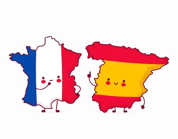 Симпатичная счастливая смешная испания разговаривает с францией, иллюстрации карты франции и испании