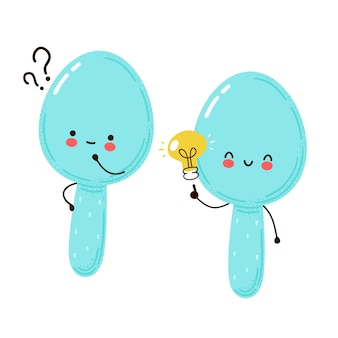疑問符とアイデア電球が付いているかわいい幸せな面白いスプーン。白い背景で隔離。漫画のキャラクターの手描きスタイルのイラスト