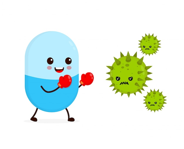 Cute happy funny strong capsule pill in boxing gloves fight with bacteria microorganism virus.