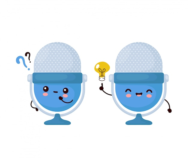Cute happy funny studio podcast microphone with question mark and idea lightbulb.   cartoon character illustration icon design.isolated