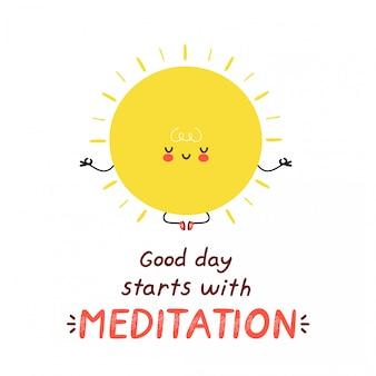 かわいい幸せな面白い太陽が瞑想します。漫画のキャラクターイラストアイコンデザイン。白い背景で隔離。良い一日は瞑想カードで始まります
