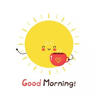 コーヒーのマグカップでかわいい幸せな面白い太陽。漫画のキャラクターイラストアイコンデザイン。白い背景で隔離。おはようカード