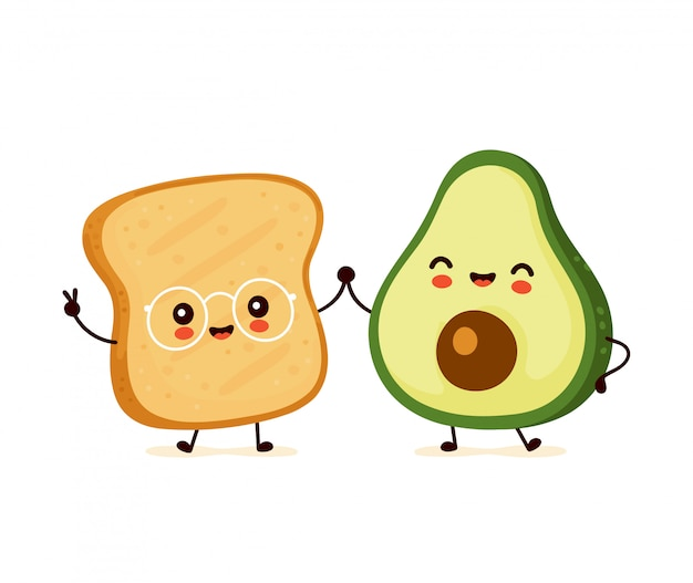 Cute happy funny toast and avocado. cartoon character illustration icon design.isolated on white background