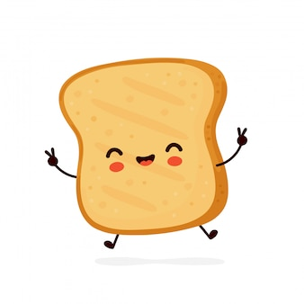 Cute happy funny toast.   cartoon character illustration icon design.isolated