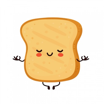 Cute happy funny toast meditate.   cartoon character illustration icon design.isolated Premium Vector