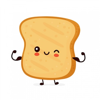 Cute happy funny toast show muscle.   cartoon character illustration icon design.isolated Premium Vector
