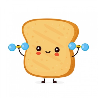 Cute happy funny toast with dumbbells.   cartoon character illustration icon design.isolated