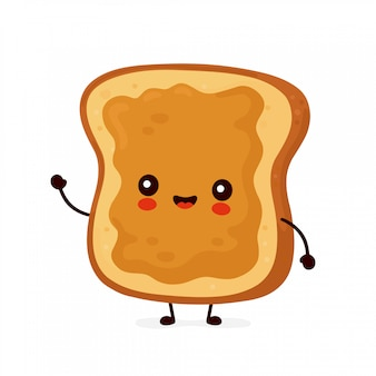 Cute happy funny toast with peanut butter.   cartoon character illustration icon design.isolated