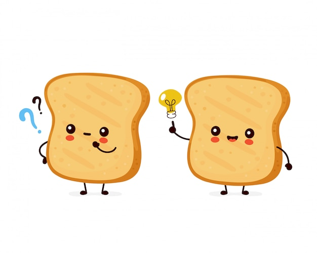 Cute happy funny toast with question mark and idea lightbulb.   cartoon character illustration icon design.isolated