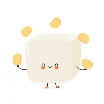Симпатичные счастливые смешные тофу жонглировать соевые бобы. мультипликационный персонаж рука рисунок стиль иллюстрации. изолированные на белом фоне Premium векторы