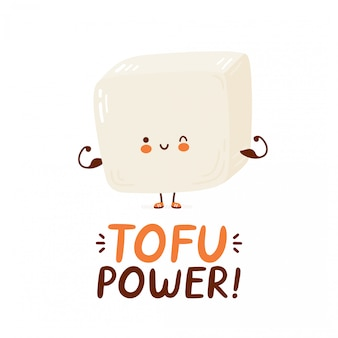 Cute happy funny tofu show muscle. cartoon character hand drawing style illustration. isolated on white background. tofu power card