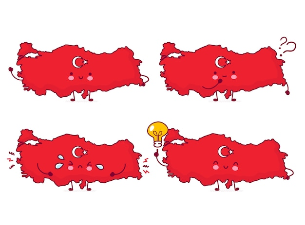 Cute happy funny turkey map and flag character set collection