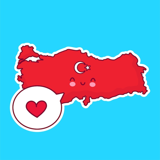 Cute happy funny turkey map and flag character with heart in speech bubble