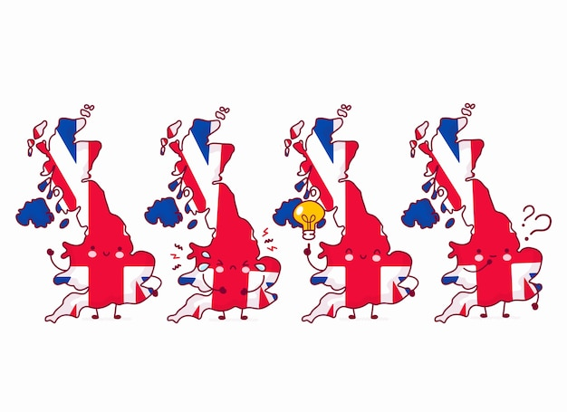 Симпатичные счастливые смешные соединенного королевства карта и персонаж флага. линия значок иллюстрации персонажа мультфильма каваи. на белом фоне. великобритания, концепция англии