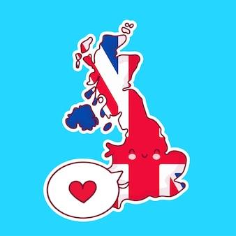 Симпатичные счастливые смешные соединенного королевства карта и персонаж флага с сердцем в речи пузырь. линия значок иллюстрации персонажа мультфильма каваи. великобритания, концепция англии