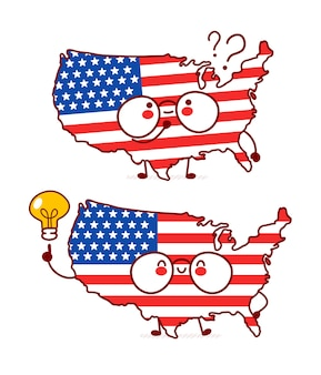 Cute happy funny usa map and flag character