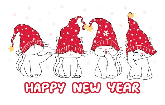 Cute happy funny white four kitten cat in red christmas hat, cartoon hand drawing, happy new year, merry christmas