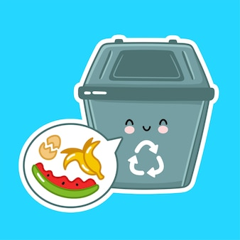 Cute happy garbage container for organic.