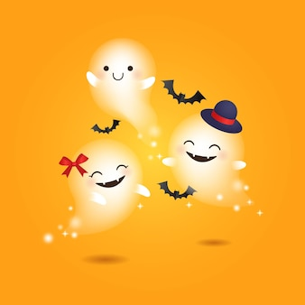 かわいい幸せな幽霊幸せなハロウィーン現実的なベクトル漫画のデザイン