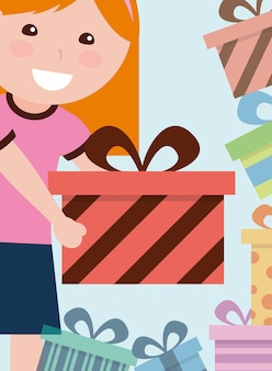 Cute happy girl giving gift box wrapped decoration vector illustration