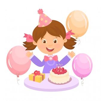 Cute happy girl, greeting card for birthday