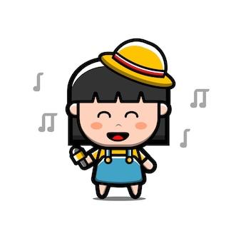 Cute happy girl sing cartoon character