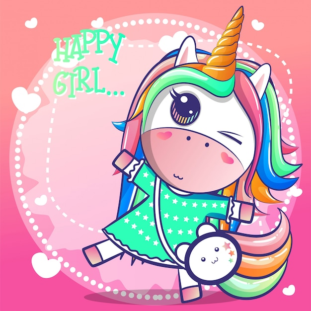 Cute happy girl unicorn cartoon