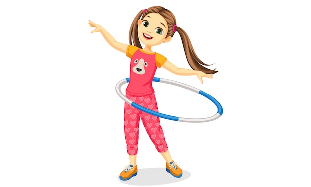 Cute happy girl with hula hoop