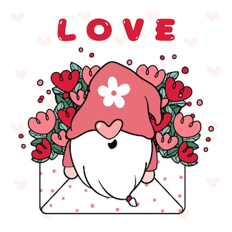 Cute happy gnome valentine in floral love envelope letter.