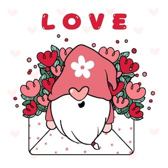花の愛の封筒の手紙のかわいい幸せなノームバレンタイン。
