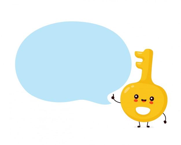 Cute happy gold key.