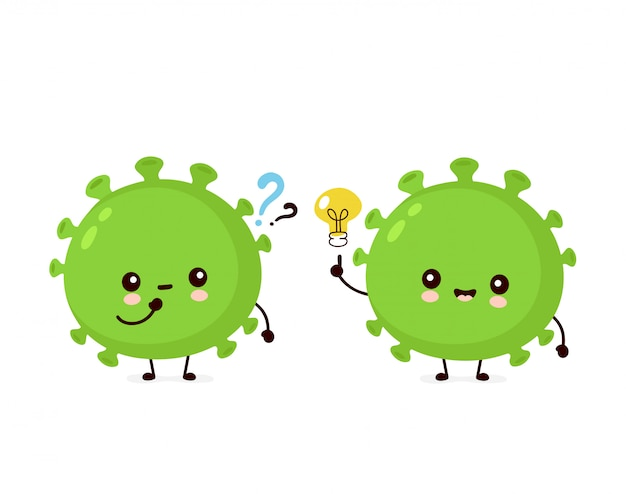 Cute happy good probiotic bacteria with question mark and idea lightbulb.
