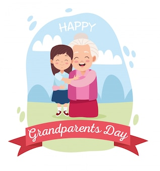 Симпатичная счастливая бабушка с внучкой в лагере