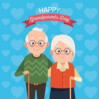 Симпатичные счастливые бабушки и дедушки пара на счастливый день бабушки и дедушки