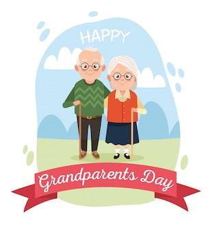 Милая счастливая пара бабушек и дедушек в лагере