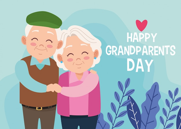 Cute happy grandparents couple and lettering with heart